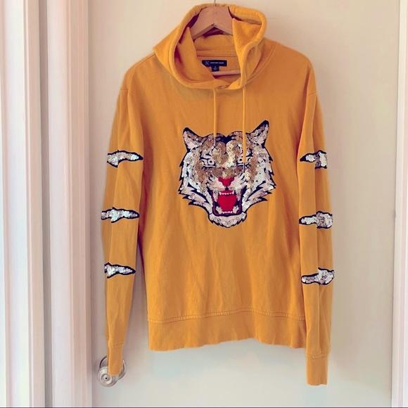 INC concepts yellow sequin tiger hoodie sz M